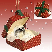 Pekingese Gift Box Red Ornament