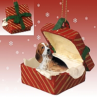 Basset Hound Gift Box Red Ornament