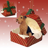 Airedale Gift Box Red Ornament