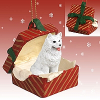Samoyed Gift Box Red Ornament