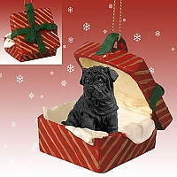 Shar Pei Black Gift Box Red Ornament