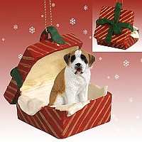Saint Bernard w/Smooth Coat Gift Box Red Ornament