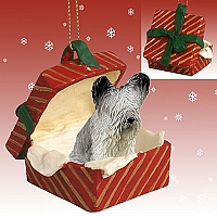 Skye Terrier Gift Box Red Ornament