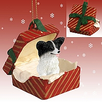 Papillon Black & White Gift Box Red Ornament