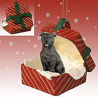 Staffordshire Bull Terrier Brindle Gift Box Red Ornament