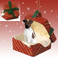 Fox Terrier Brown & White Gift Box Red Ornament