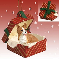 Welsh Corgi Pembroke Gift Box Red Ornament
