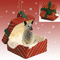 Norwegian Elkhound Gift Box Red Ornament