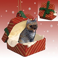 Cairn Terrier Brindle Gift Box Red Ornament