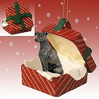 Greyhound Brindle Gift Box Red Ornament