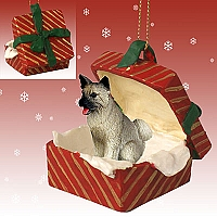 Akita Gray Gift Box Red Ornament