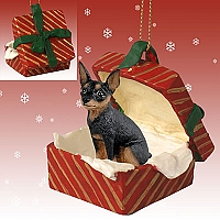 Miniature Pinscher Tan & Black Gift Box Red Ornament