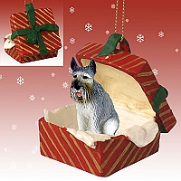 Schnauzer Giant Gray Gift Box Red Ornament