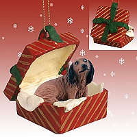 Dachshund Longhaired Red Gift Box Ornament