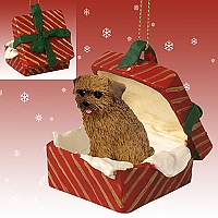 Norfolk Terrier Gift Box Red Ornament