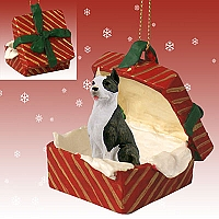 Pit Bull Terrier Brindle Gift Box Red Ornament