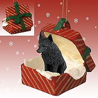 Schipperke Gift Box Red Ornament