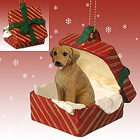 Rhodesian Ridgeback Gift Box Red Ornament
