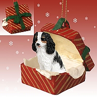 Cavalier King Charles Spaniel Black & White Gift Box Red Ornament