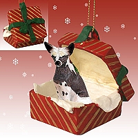 Chinese Crested Dog Gift Box Red Ornament