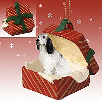 English Setter Belton Blue Gift Box Red Ornament