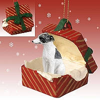 Whippet Gray & White Gift Box Red Ornament