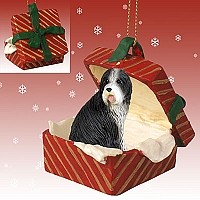 Bearded Collie Gift Box Red Ornament
