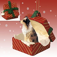 Australian Shepherd Brown w/Docked Tail Gift Box Red Ornament