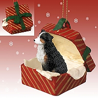 Australian Shepherd Tricolor w/Docked Tail Gift Box Red Ornament