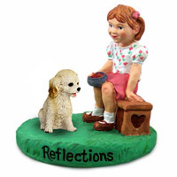 Cockapoo Blond Reflections w/Girl Figurine
