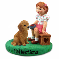 Goldendoodle Reflections w/Girl Figurine