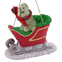 Poodle Gray Sleigh Ride Ornament