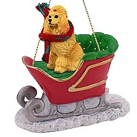 Poodle Apricot Sleigh Ride Ornament