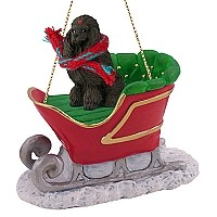 Poodle Chocolate Sleigh Ride Ornament