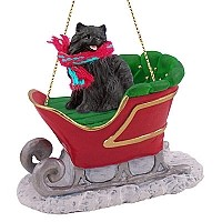 Pomeranian Black Sleigh Ride Ornament