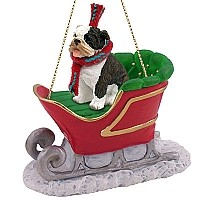 Bulldog Brindle Sleigh Ride Ornament