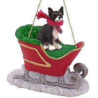 Chihuahua Black & White Sleigh Ride Ornament