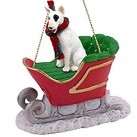Bull Terrier Sleigh Ride Ornament