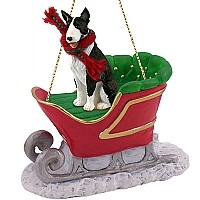 Bull Terrier Brindle Sleigh Ride Ornament