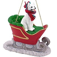 German Shepherd White Sleigh Ride Ornament