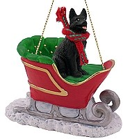 German Shepherd Black Sleigh Ride Ornament