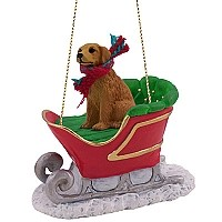 Golden Retriever Sleigh Ride Ornament
