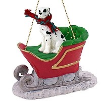 Great Dane Harlequin w/Uncropped Ears Sleigh Ride Ornament