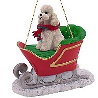 Poodle White w/Sport Cut Sleigh Ride Ornament