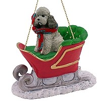 Poodle Gray w/Sport Cut Sleigh Ride Ornament