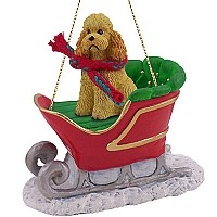 Poodle Apricot w/Sport Cut Sleigh Ride Ornament