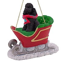 Poodle Black w/Sport Cut Sleigh Ride Ornament