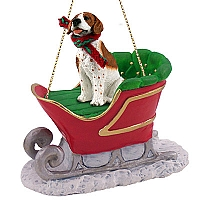 Pointer Brown & White Sleigh Ride Ornament