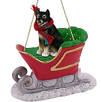 Alaskan Malamute Sleigh Ride Ornament