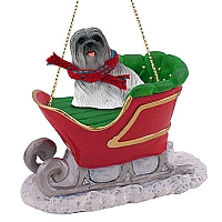 Lhasa Apso Gray Sleigh Ride Ornament